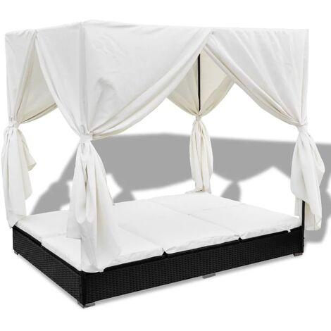 Outdoor-Loungebett mit Vorhang Poly Rattan Schwarz