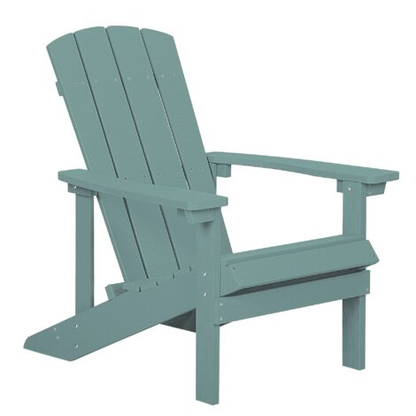 Outdoor Lounger Chair Turquoise Blue Plastic Wood for Patio Yard Adirondack