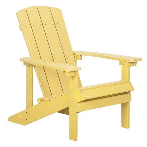 """main image of """"Outdoor Lounger Chair Yellow Plastic Wood for Patio Yard Adirondack"""""""