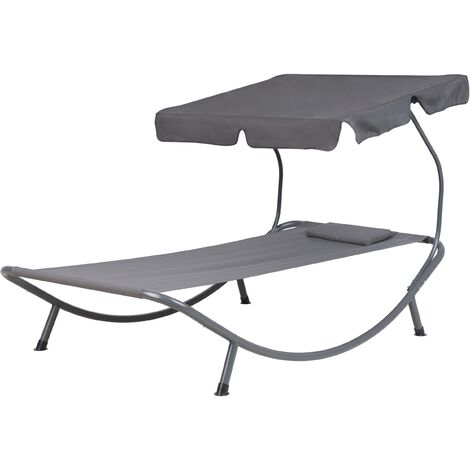 Outdoor Lounger Sunbed Daybed Metal Frame Canopy Shade Dark Grey Terno