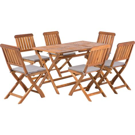 """main image of """"Outdoor Modern Garden Patio Furniture Set 6 Person Table Chairs Wood Natural Cento"""""""