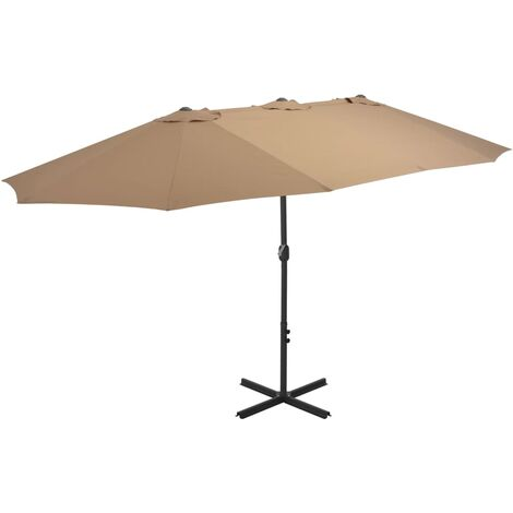 Outdoor Parasol with Aluminium Pole 460x270 cm Taupe - Brown