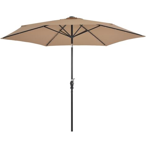 Outdoor Parasol with LED Lights and Steel Pole 300cm Taupe