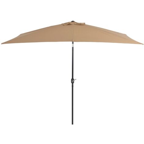 Outdoor Parasol with Metal Pole 300x200 cm Taupe