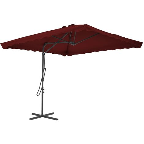 Outdoor Parasol with Steel Pole Bordeaux Red 250x250x230 cm