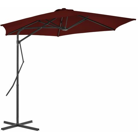 Outdoor Parasol with Steel Pole Bordeaux Red 300x230 cm
