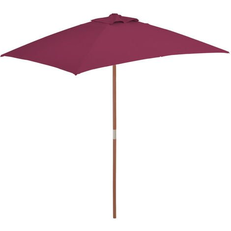 Outdoor Parasol with Wooden Pole 150x200 cm Bordeaux Red