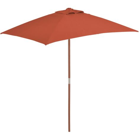 Outdoor Parasol with Wooden Pole 150x200 cm Terracotta