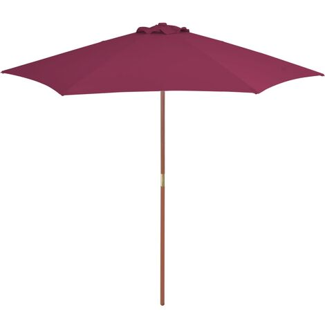 Outdoor Parasol with Wooden Pole 270 cm Bordeaux Red