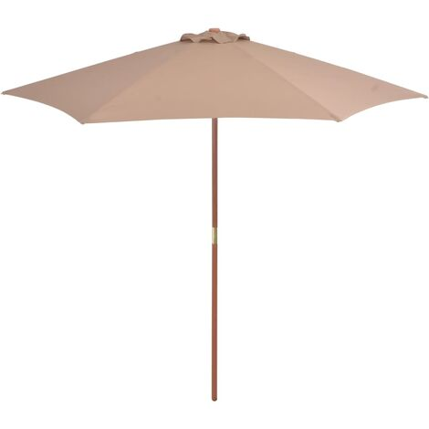 Outdoor Parasol with Wooden Pole 270 cm Taupe