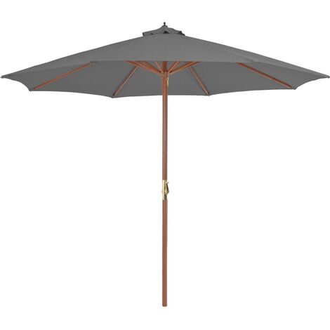 Outdoor Parasol with Wooden Pole 300 cm Anthracite