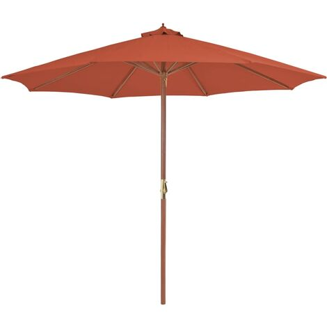 Outdoor Parasol with Wooden Pole 300 cm Terracotta