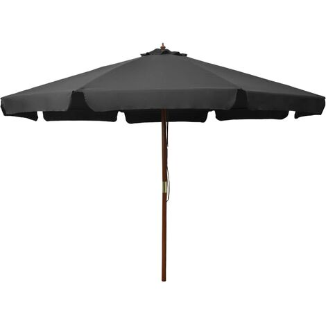 Outdoor Parasol with Wooden Pole 330 cm Anthracite