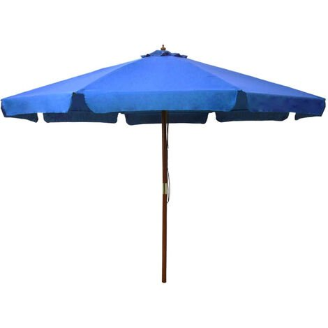 Outdoor Parasol with Wooden Pole 330 cm Azure