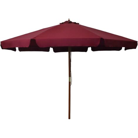 Outdoor Parasol with Wooden Pole 330 cm Burgundy