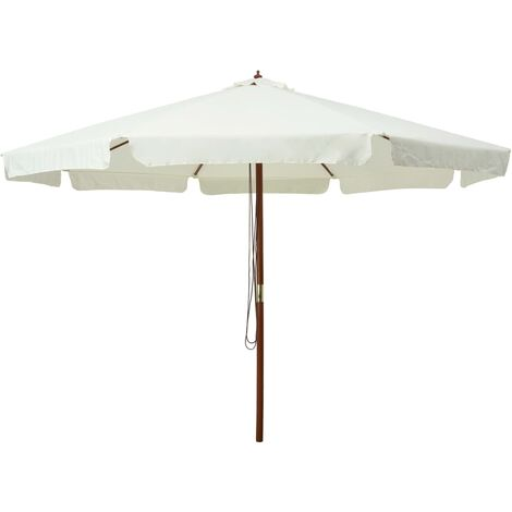 Outdoor Parasol with Wooden Pole 330 cm Sand White