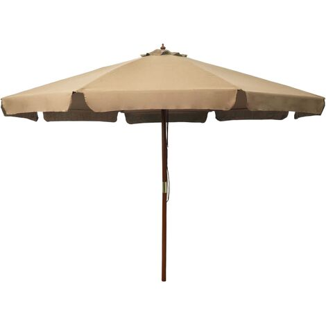 Outdoor Parasol with Wooden Pole 330 cm Taupe