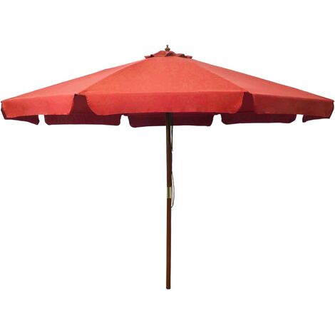 Outdoor Parasol with Wooden Pole 330 cm Terracotta