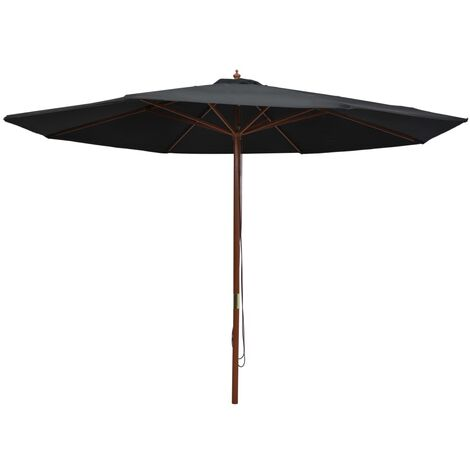 Outdoor Parasol with Wooden Pole 350 cm Black