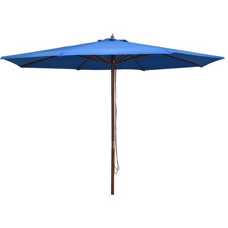 Outdoor Parasol with Wooden Pole 350 cm Blue
