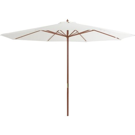 Outdoor Parasol with Wooden Pole 350 cm Sand White