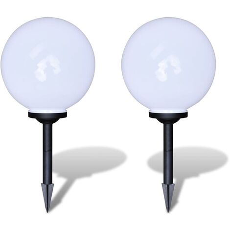 Outdoor Path Garden Solar Lamp Path Light LED 30cm 2pcs Ground Spike - White