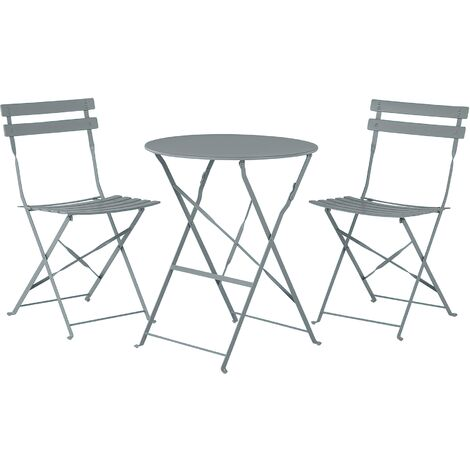 """main image of """"Outdoor Patio 3 Piece Bistro Set Grey Steel Round Table and Chairs Fiori"""""""