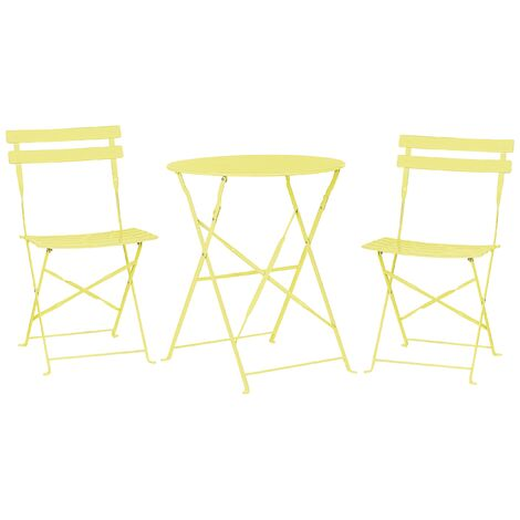 Outdoor Patio 3 Piece Bistro Set Lime Steel Round Table and Chairs Fiori
