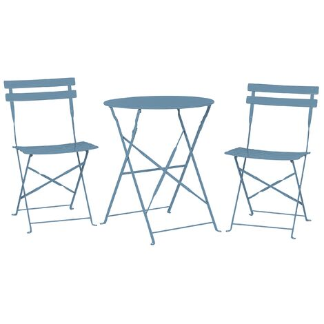 Outdoor Patio 3 Piece Bistro Set Sea Blue Steel Round Table and Chairs Fiori