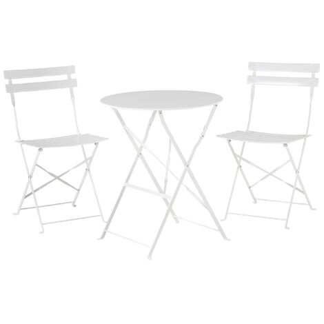 Outdoor Patio 3 Piece Bistro Set White Steel Round Table and Chairs Fiori