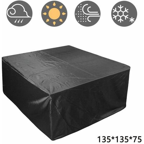 Outdoor Patio Furniture Cover, Rectangular Patio Table Set Cover Waterproof Snow Dust Wind and UV Resistant 210D, 135*135*75cm