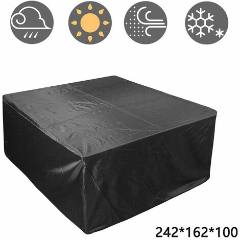 Outdoor Patio Furniture Cover, Rectangular Patio Table Set Cover Waterproof Snow Dust Wind and UV Resistant 210D, 242*162*100cm