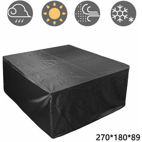 Outdoor Patio Furniture Cover, Rectangular Patio Table Set Cover Waterproof Snow Dust Wind and UV Resistant 210D, 270*180*89cm