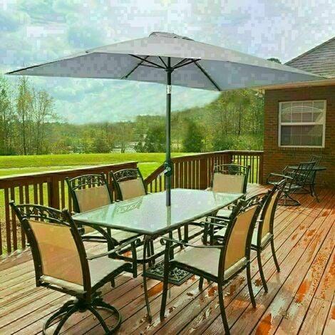 Outdoor Patio Garden Parasol 3x2m Sun Shade Umbrella Canopy w/ Crank Tilt UV protection - Grey