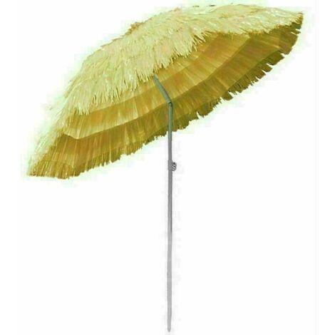 Outdoor Patio Hawaiian Parasol Beach Sun Shade Protection Umbrella Tilting Beige