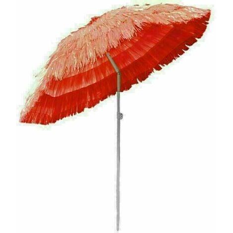 Outdoor Patio Hawaiian Parasol Beach Sun Shade Protection Umbrella Tilting Red