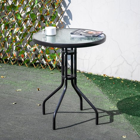 Outdoor Patio Metal Coffee Dining Table or Chairs Dining Set, Black Table + 4 Chairs
