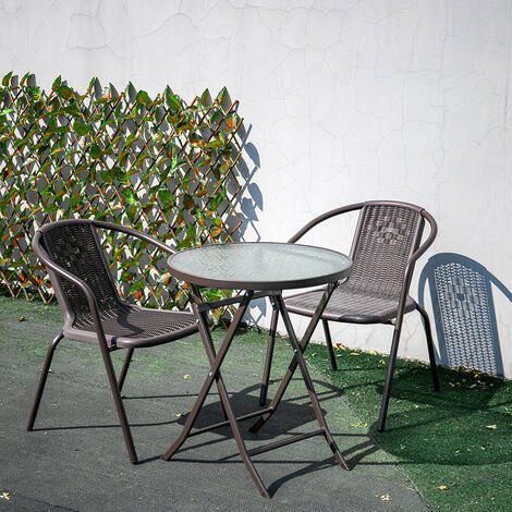 Outdoor Patio Metal Foldable Dining Table or Chairs Dining Set, Black Table + 2 Chairs