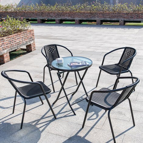 """main image of """"Outdoor Patio Metal Foldable Dining Table or Chairs Dining Set"""""""