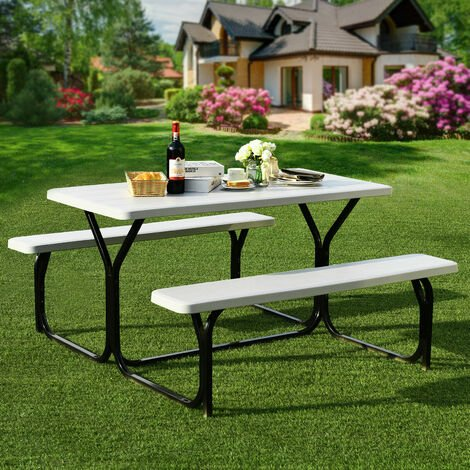 """main image of """"Outdoor Picnic Table and Bench Set Heavy-Duty Garden Furniture Gathering/Party"""""""