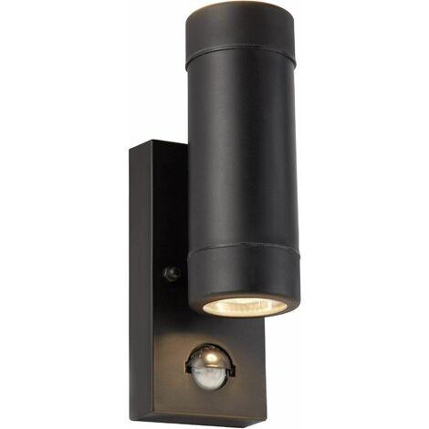 Outdoor PIR 2 Light Cylinder Wall Bracket Black by Washington Lighting