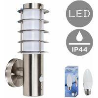 Outdoor PIR Sensor Stainless Steel Wall Light Lantern + 4w LED Candle Bulb - 6500K Cool White