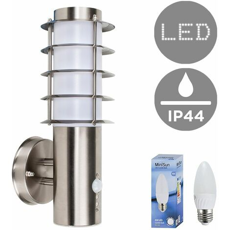 Outdoor Pir Sensor Stainless Steel Wall Light Lantern + 4W LED Candle Bulb - Cool White