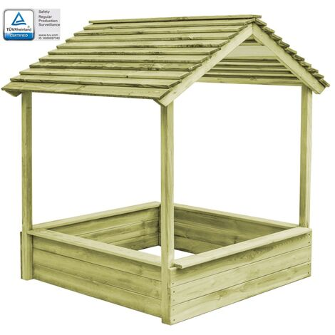 Outdoor Playhouse with Sandpit 128x120x145 cm Pinewood