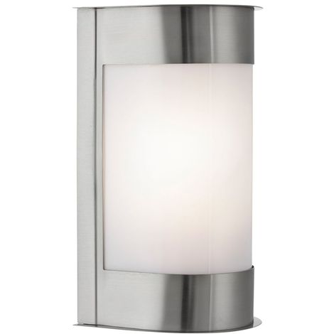 OUTDOOR & PORCH IP44 1 LIGHT SATIN SILVER VERTICAL CURVED BULKHEAD