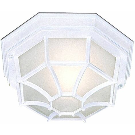 Outdoor & Porch octagonal ceiling light, in white cast aluminum and acid glass