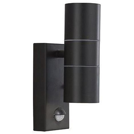 OUTDOOR & PORCH WALL LIGHT - 2 LIGHT BLACK+SENSOR TUBE