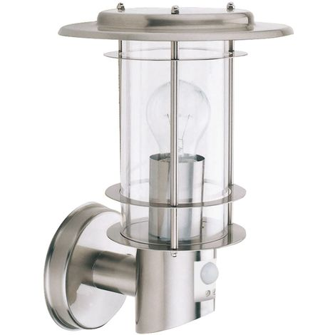 OUTDOOR & PORCH WALL LIGHT STAINLESS STEEL COMPLETE WITH SENSOR