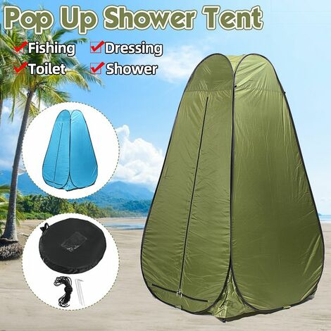 Outdoor Portable Pops-Up Tent 1.2m Shower Bath Changing Room Camping Dressing Shelter Beach Privacy Toilet Tent with Bag (Armygreen)
