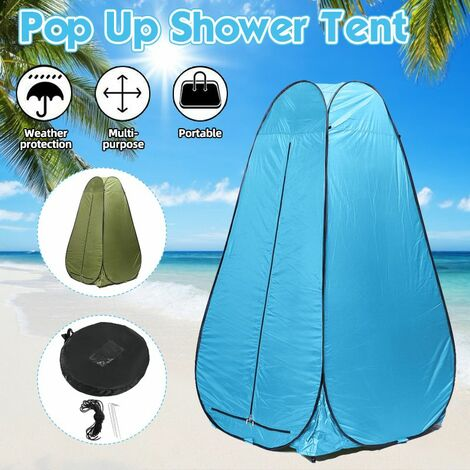 Outdoor Portable Pops-Up Tent 1.2m Shower Bath Changing Room Camping Dressing Shelter Beach Privacy Toilet Tent with Bag (Lakeblue)